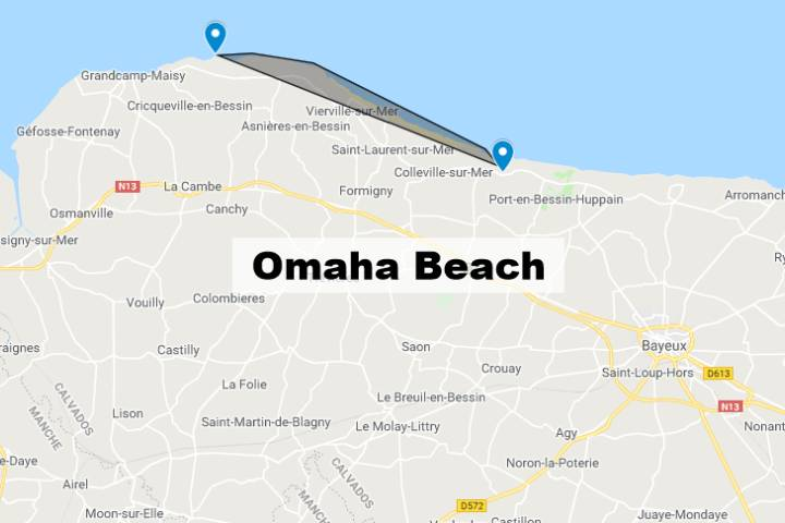 Omaha Beach Normandie : Carte